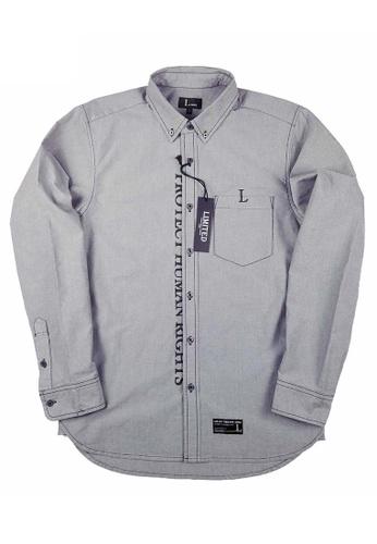 L.I.M.I.T.E black Printed & Emb. Oxford Shirt LI425AA0FCJZSG_1