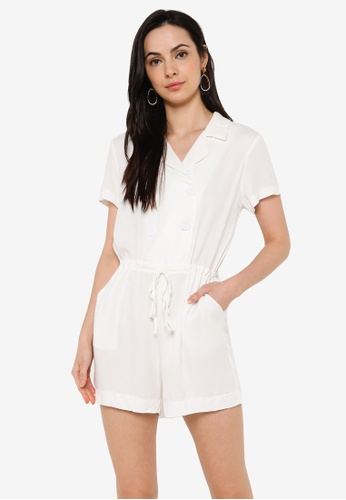 ZALORA BASICS white Double Breasted Drawstring Playsuit 956D9AAB09D76EGS_1