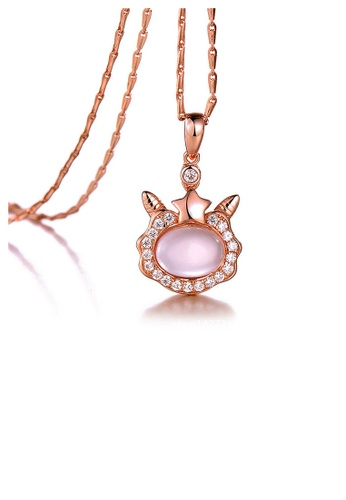 Glamorousky pink Plated Rose Gold Twelve Horoscope Aries Pendant with White Cubic Zircon and Necklace 3F36DAC36C2950GS_1