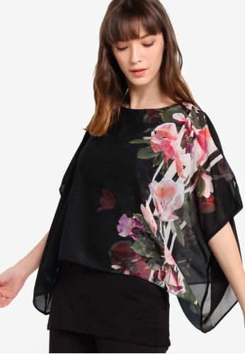 花卉印花薄紗覆蓋上衣esprit高雄門市, 服飾, 上衣