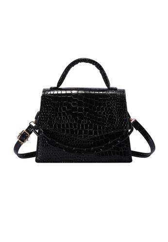 Lara black Women's Fashionable Crocodile Skin Embossed Leather Flap Zipper Hand Bag Cross-body Bag - Black 820C1ACC858723GS_1