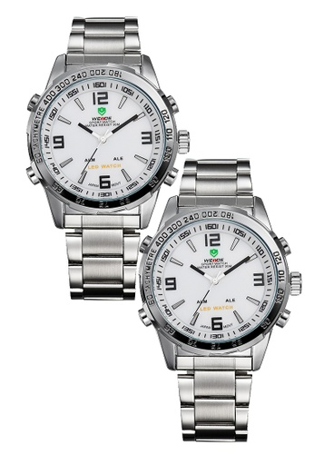 Weide white and silver Bundle 2 Units Weide WH1009 Dual Time LED Stainless Steel Watch Silver White WE079AC0RQMRMY_1