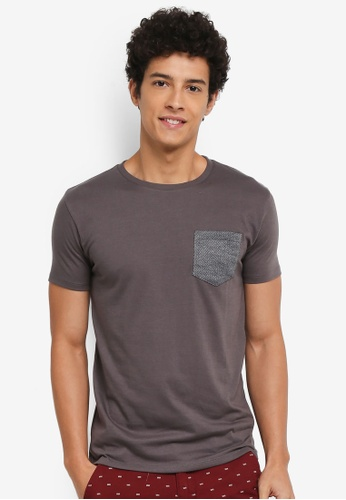 Penshoppe grey Semi Fit T-Shirt With Pocket 06BB8AABC4EE2CGS_1