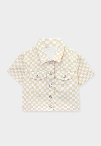 Pomelo beige Sustainable Checkered Crop Jacket - Beige 8CE88AA6C0C139GS_1
