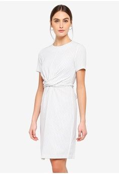 2b07ea28a9 FORCAST white Caesar Twist Front Dress 14EB5AA3B33FDBGS 1
