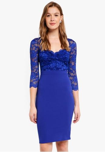 e4d5e2b9c73b Goddiva blue Half Sleeve Midi Dress With Sweetheart Neckline  908D2AA1B3F9B8GS_1