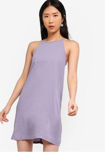 ZALORA BASICS grey Basic Halter Shift Dress FE4E3AAAE4BBCCGS_1