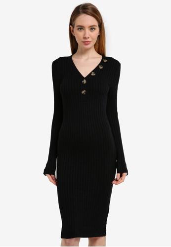 River Island black Button Rib Midi Dress BBA57AADDA0608GS_1