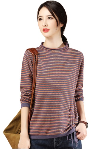 A-IN GIRLS multi Fashion Drawstring Striped Sweater DB345AA871B434GS_1