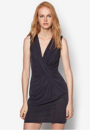 扭結zalora 順豐抓褶無袖連身裙, 服飾, 洋裝