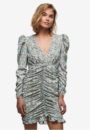 ONLY grey Kendall Long Sleeve Ruching Dress A92B1AA569DA8AGS_1