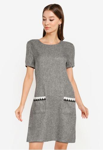 ZALORA WORK grey Trim Detail Shift Dress AB1CFAAEBDB301GS_1