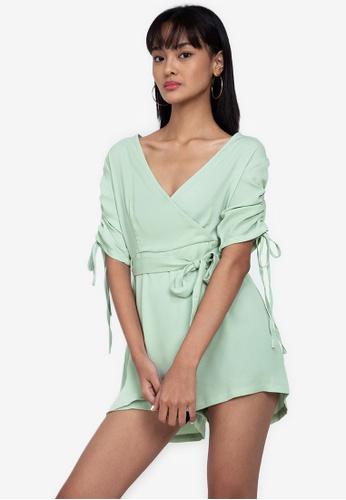 ZALORA BASICS green Ruched Sleeve Playsuit 70872AACF69089GS_1