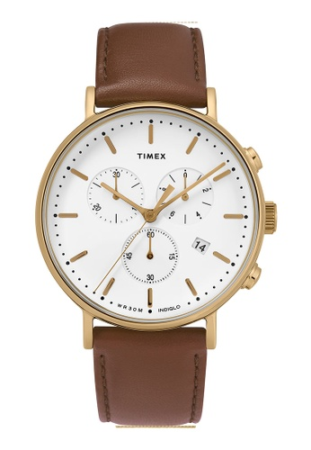 Timex brown and gold Timex Fairfield Chrono 41mm - Gold-Tone Case, Brown Strap (TW2T32300) 23818AC3168131GS_1