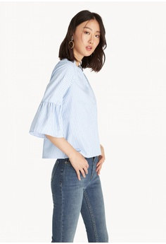 40bf816eebcf42 Pomelo blue Striped Loose Bell Sleeve Shirt - Blue 5F076AA5BC533FGS_1