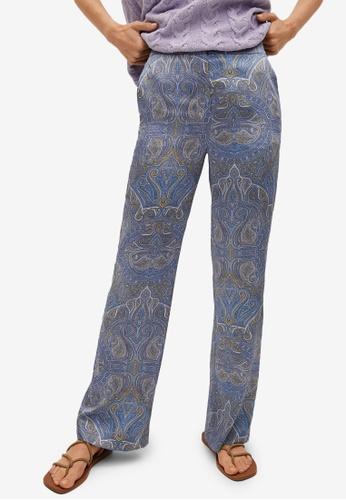 Mango blue Paisley Print Trousers F7645AAB5F98BFGS_1