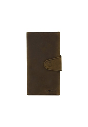 EXTREME brown Extreme Genuine Leather RFID Blocking Trifold Long Wallet EEFC1AC91F48F8GS_1