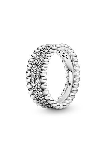 PANDORA silver Pandora Beaded Pavé Band Ring 89895ACE75C21FGS_1