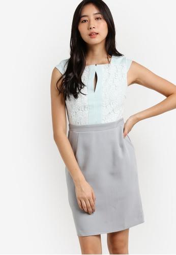 Pink Evil's Fashion Supermarket grey and blue Tova Shift Dress PI908AA70ALXMY_1