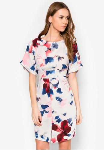花卉繫帶連身裙, 服飾, zalora開箱洋裝