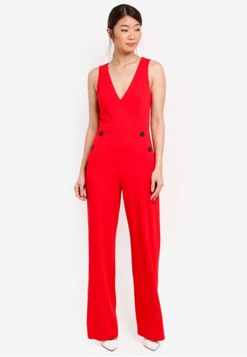 Miss Selfridge red Button Jumpsuit 88B27AA04C98FDGS_1