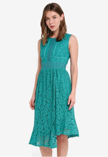 Little Mistress green Lace Midi Dress E461FAAE77819BGS_1