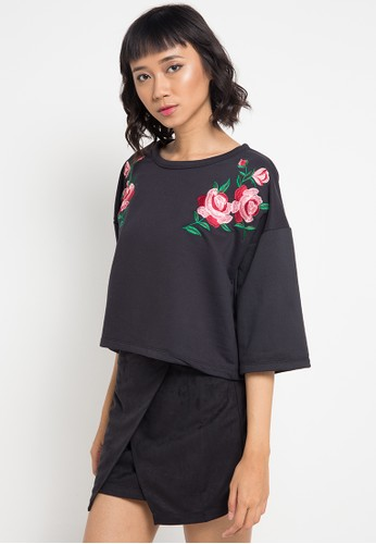 Lavabra black Flower Embroidery Shirt LA387AA0VMQ2ID_1
