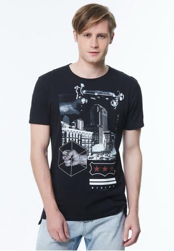 Sisley black Printed T-shirt FA219AA1AC4C43GS_1