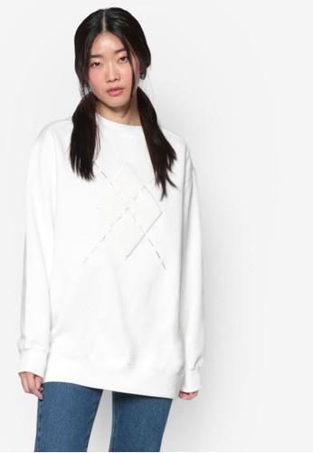 韓系時尚zalora 衣服尺寸Argyle 圓領長袖衫, 服飾, 外套