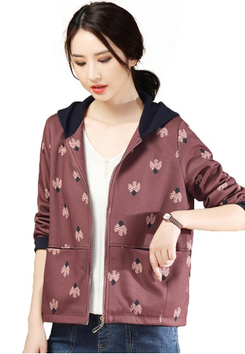 A-IN GIRLS purple Casual Printed Hooded Jacket 3A023AA3A9F76FGS_1