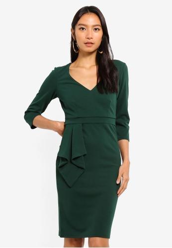 Goddiva green Three Quarter Sleeve Midi Dress With Frill 9CE26AA728DB27GS_1