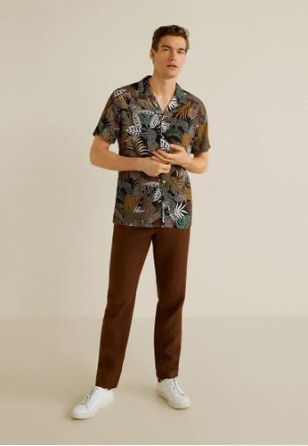 Mango Man black Hawaiian Flowy Shirt EA3BFAA3044323GS_4
