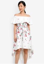 ZALORA white Placement Print Off Shoulder Dress 8D313AA34547DBGS_1