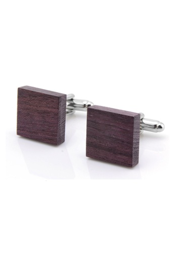 Kings Collection brown Natural Violet Wood Square Cufflinks (KCW2124) 950B6AC4D45A83GS_1