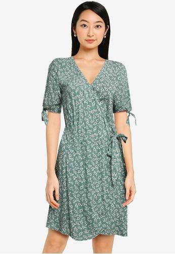 ZALORA BASICS green Tie Sleeve Wrap Dress 0D45DAAD607835GS_1