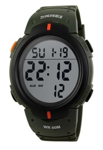 Skmei green Jam Tangan Casual Digital Pria Waterproof Stopwatch Night Light Strap Tali Material Silicon LL06 ORIGINAL 2B1C5AC375F154GS_1