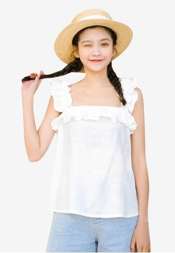 Shopsfashion white Ruffles Sleeve Blouse DB204AA3AA511EGS_1