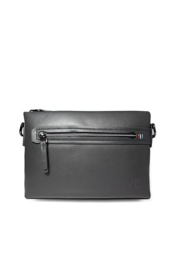 Santa Barbara Polo & Racquet grey Santa Barbara Polo & Racquet Club Leather Crossbody Bag SA678AC0HB9DSG_1