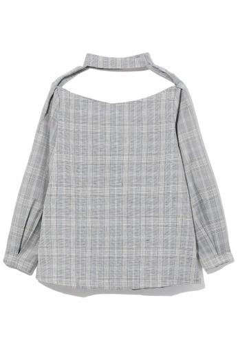 GREENISHPINK grey Cutout collar top. 2700DAA0044E2BGS_1