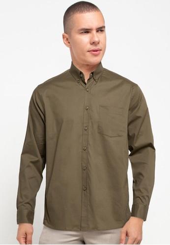 Tolliver X Salt n Pepper green Buttoned Collar Long Sleeve Shirts 03EA0AAE43D030GS_1