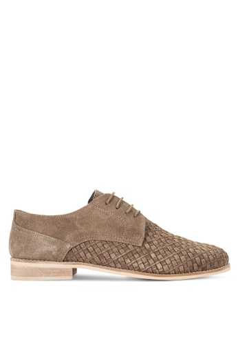 Topman grey Taupe Suede Smart Shoes TO413SH16FTNMY_1