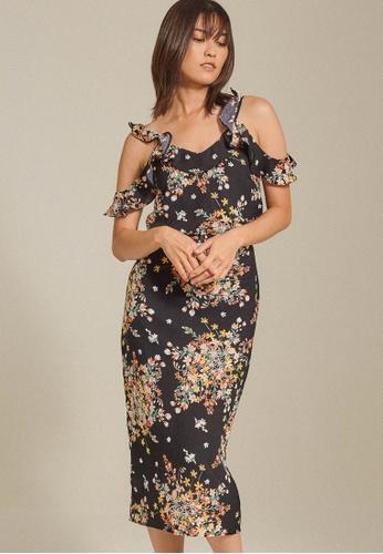 Dressing Paula black Ruffled Crepe Dress 7A731AAE4D5AD0GS_1