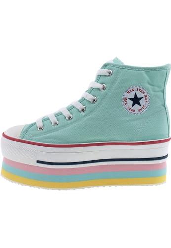 Maxstar 綠色 新款韩国鞋CN9-8H時尚帆布布混合女浅蓝色 US Women Size MA345SH73HFUTW_1