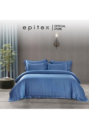 Epitex blue Epitex MD3030 1200TC Modal Dobby Fitted Sheet Set - Bedsheet Set - Bedding Set (River Blue) - (w quilt cover) 32A86HLDC480A1GS_1