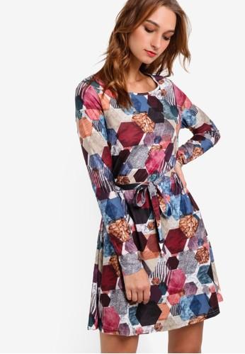 Allada 圖形esprit門市印花長袖連身裙, 服飾, 洋裝