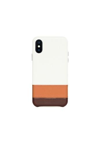 OBX white Irish Layered iPhone X/Xs Striped Leather Snap-On Case C28CAACBB2E8B8GS_1
