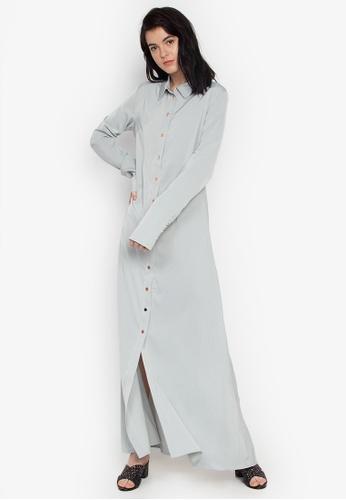 the___edit green Vesper Long Sleeves Button Down Maxi Dress 8423EAA310079BGS_1