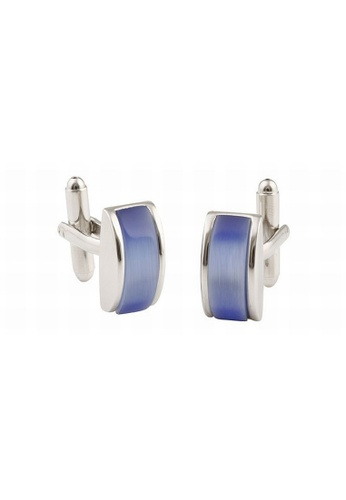 Buckle blue and silver Rectangle Enamel Blue Cufflinks E808EACF1F1D7AGS_1