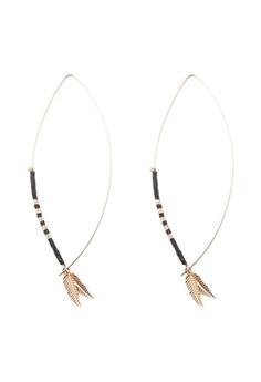 葉子串珠鉤扣耳環