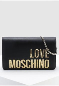 8c6bfd71aff472 Love Moschino black Matte Gold Logo Sling Bag 429A2AC1D338E9GS_1